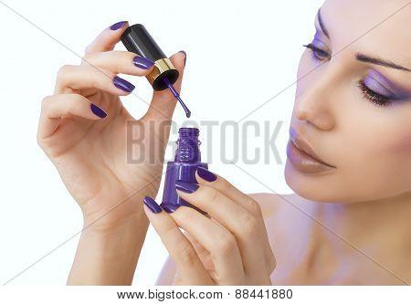 Makeup, Beauty. Manicure Process - Purple Manicure