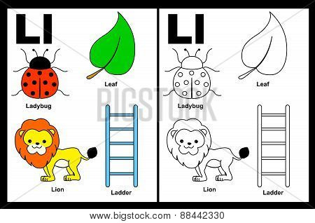 Kids Coloring Book Page Letter L