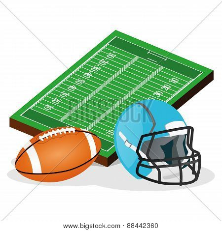 American Football Field and Ball Vector Illustration