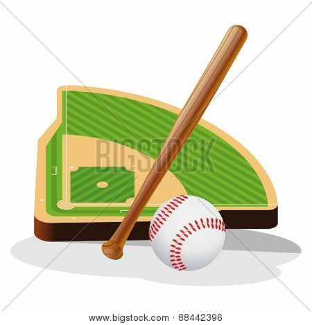 Baseball Field and Ball Vector Illustration
