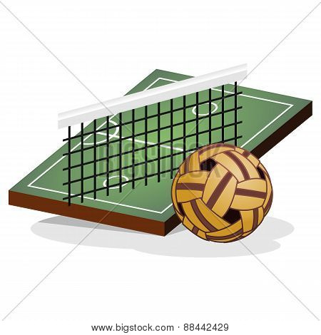 Kick Volleyball Field and Ball Vector Illustration