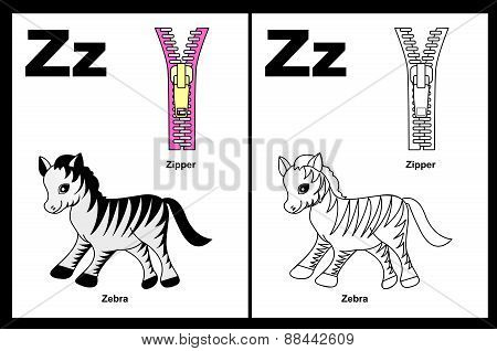 Kids Coloring Book Page Letter Z