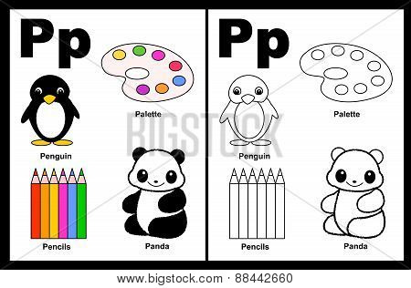 Kids Coloring Book Page Letter P