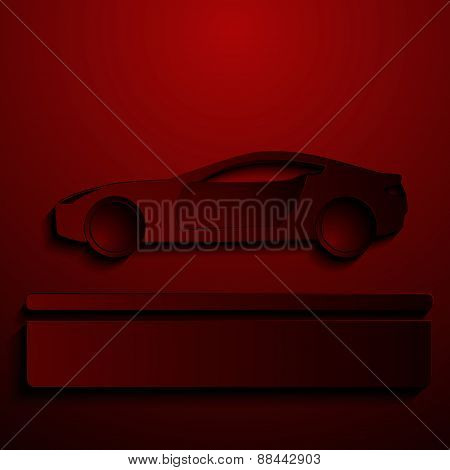 Abstract sign of automobile for sale. Simple illustration with stylized silhouette vehicle. Backgrou