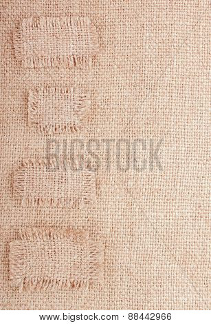 Vertical Sackcloth Background With Sticker Like Patches