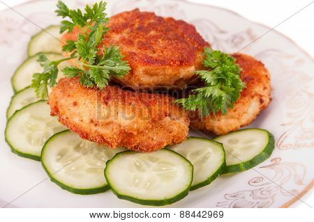 Roasted Cutlets With Parsley And Cucumber