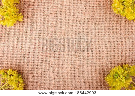 Bright Yellow Flowers On The Burlap Background