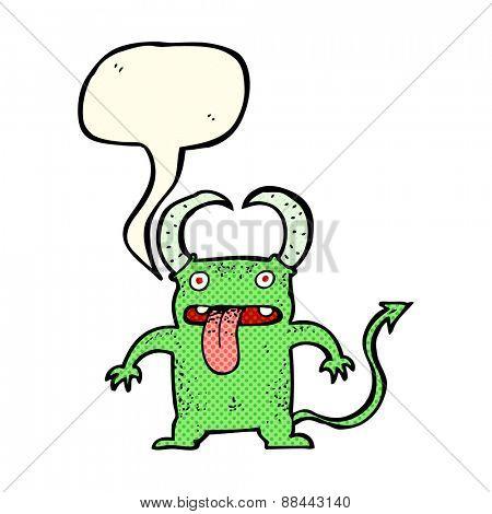 cartoon little devil with speech bubble