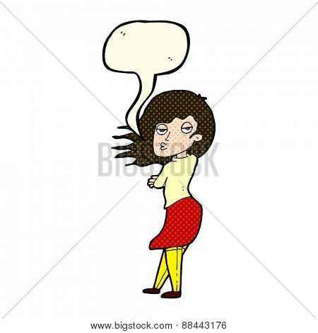 cartoon woman making photo face with speech bubble