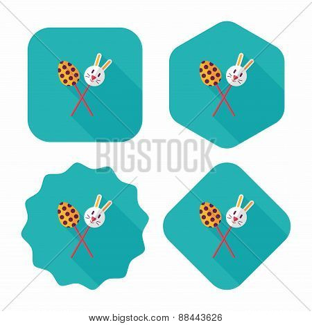 Easter Lollipop Flat Icon With Long Shadow,eps10