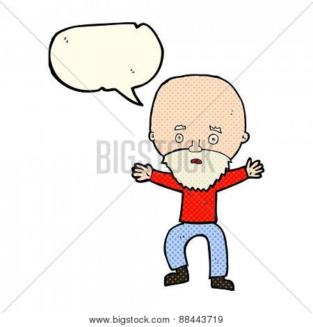 cartoon panicking old man with speech bubble