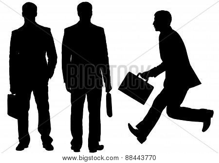 Silhouette of businessmen on white background.