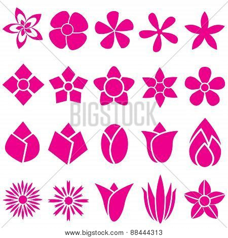 Set Of Vector Flowers Icon And Symbol