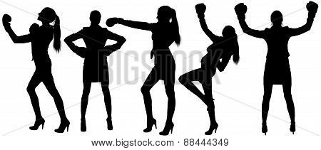 Set silhouettes of woman in boxing.