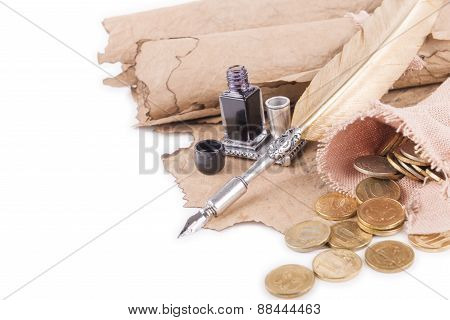 Coins, Pen And Ancient Manuscripts On A White Background