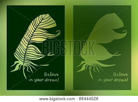 Hand Drawn Feathers And Text Card On Blurred Background. Vector Illustration