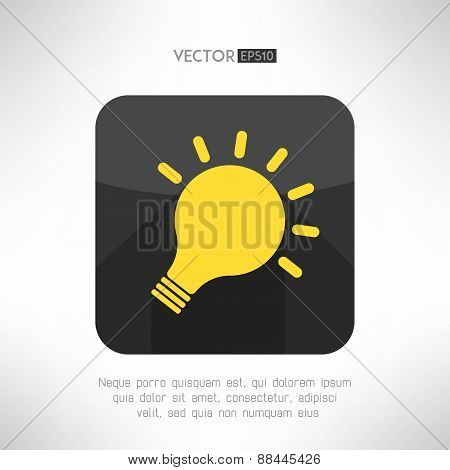 Light bulb icon in modern flat design. Creativity and idea sign with long shadow. Vector illustratio