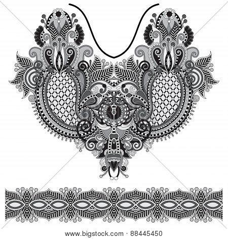 Neckline grey embroidery fashion