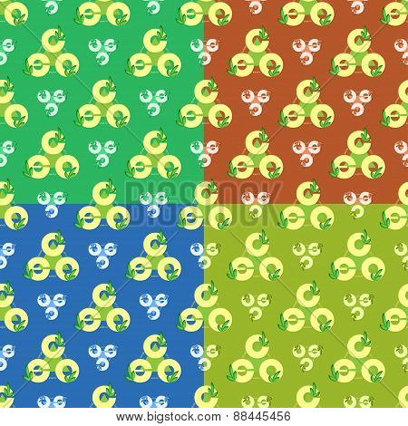 Set Green Eco Logo Seamless Parttern In Different Colors.