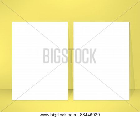 Empty brochure design template leaned against a wall. Pair of clean emty sheets. Vector illustration