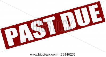 Rubber stamp with word past due inside vector illustration