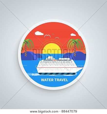 Cruise Ship and Clear Blue Water. Water Tourism