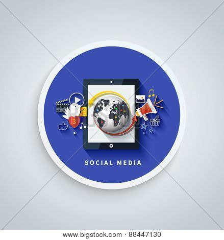 Social media concept. Cloud of application icons