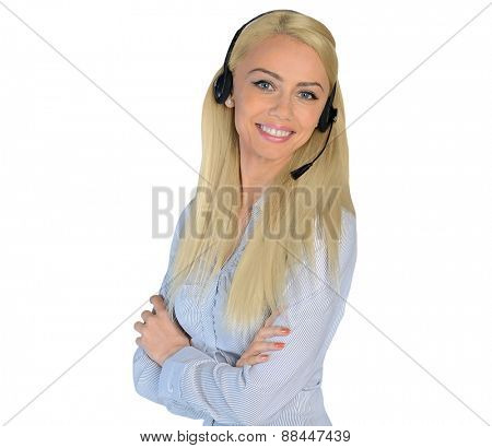 Isolated business woman with headphones
