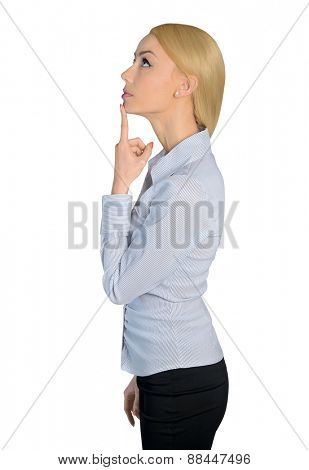 Isolated business woman thinking solution
