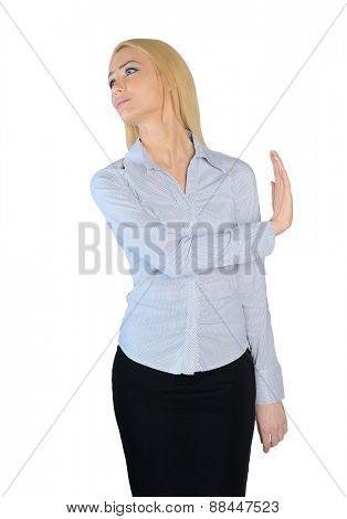 Isolated business woman rejection sign