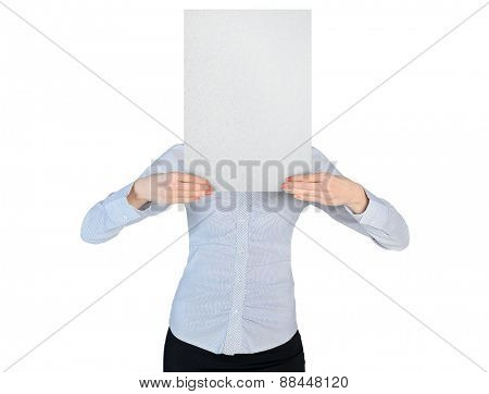 Isolated business woman cover with empty board