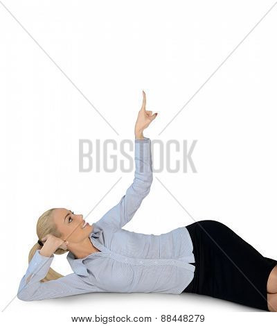 Isolated business woman pointing up