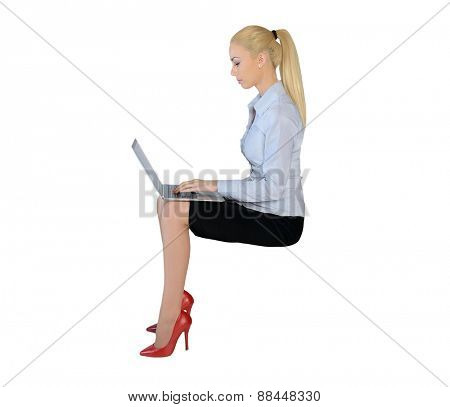 Isolated business woman with computer