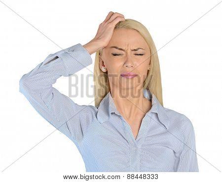 Isolated business woman headache closeup