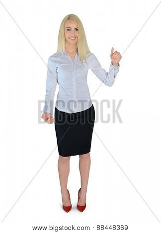 Isolated business woman holding something