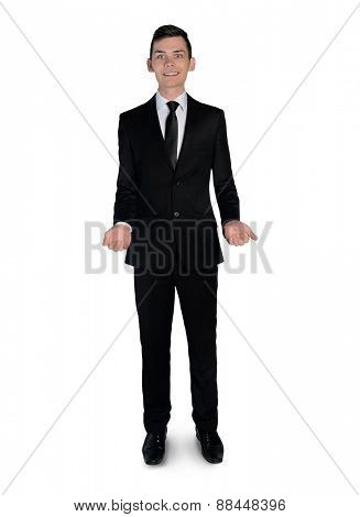 Isolated business man presenting something