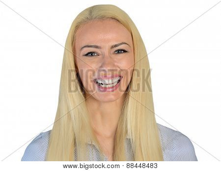 Isolated business woman happy looking camera