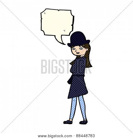 cartoon female spy with speech bubble
