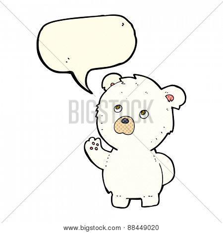cartoon waving polar bear with speech bubble