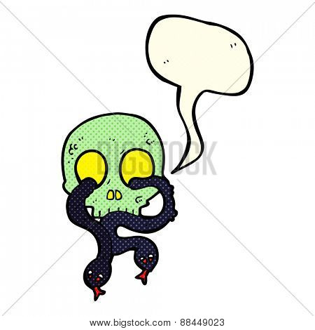 cartoon skull with snakes with speech bubble