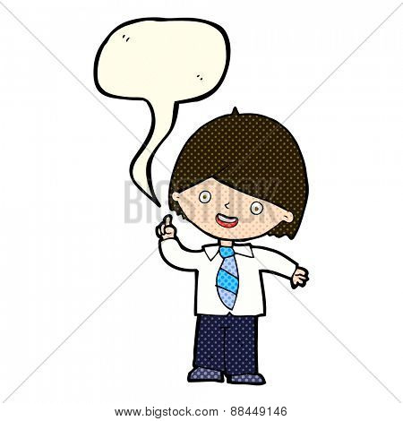 cartoon school boy answering question with speech bubble