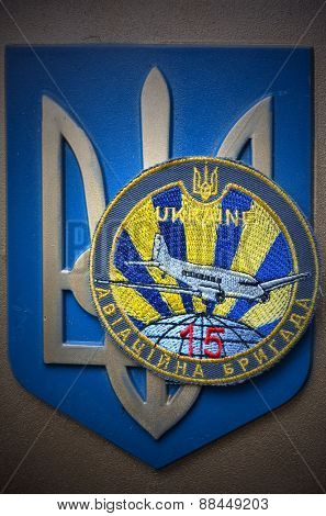 Kiev,Ukraine.APR 16.Illustrative editorial.Chevron of Ukrainian air force.At April 16,2015 in Kiev, Ukraine