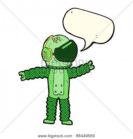 cartoon astronaut reaching with speech bubble