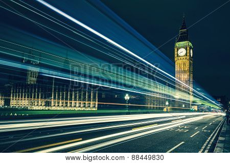 Big Ben And Lights Of The Cars Passing By