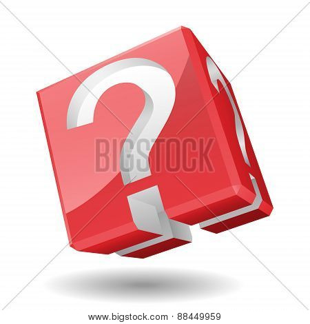 Vector Illustration of 3D cube with question mark symbol.