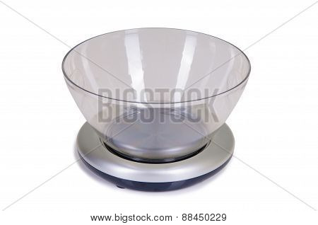 one kitchen scale on a white background