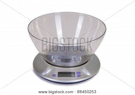 the kitchen scale on  a white background