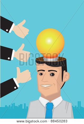 Compliments For Bright Idea Conceptual Vector Illustration