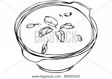 Vector Sketch Bowl Of Soup With Herbs
