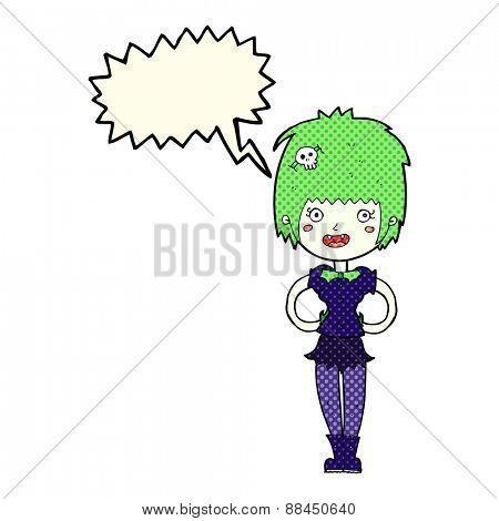 cartoon happy vampire girl with speech bubble